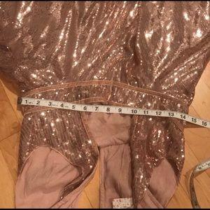 Free People Dresses - Rose gold sequin halter dress 70s